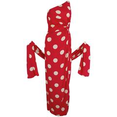 1980s Lillie Rubin Lipstick Red Silk Polka Dot Gown with Wrap