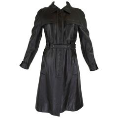 1960s Courreges Black Textured Vinyl Trench Coat with Fleece Lining