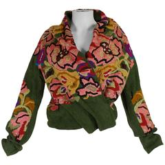 Dries Van Noten Floral Embroidered Linen Shawl Collar Jacket
