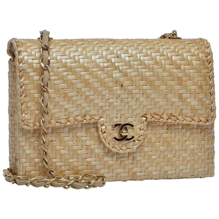 CHANEL Natural Straw Flap Handbag NEW For Sale