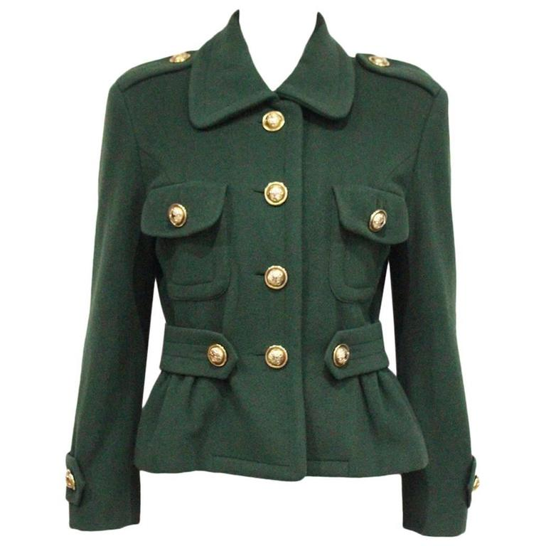 Moschino green military style jacket, c. 1991