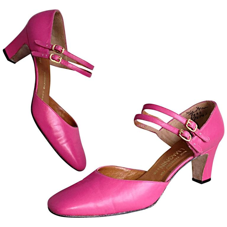 New 1960s David Evins for I. Magnin Hot Pink Size 7.5 Fuchsia Heels Pumps  1