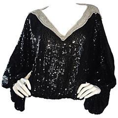 Vintage Jeanette Kastenberg Black Sequins + Pearls Slouchy Batwing Dolman Blouse