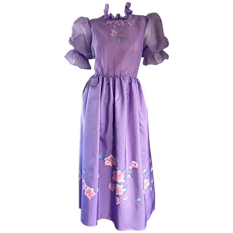 Beautiful Vintage Richilene Light Purple / Lilac Hand Painted Flower Silk Dress