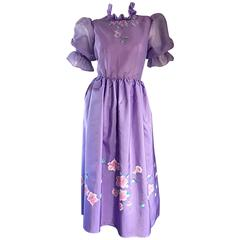 Beautiful Vintage Richilene Light Purple / Lilac Hand Painted Flower Silk Dress
