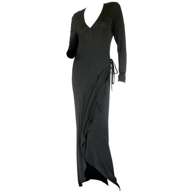 Jean Muir Fitted Maxi Dress with Flowing Train Hem Black Jersey Early 1980s