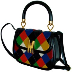 Moschino Harlequin Bag with Shoulder Strap Vintage Top Handle Bag Redwall Italy