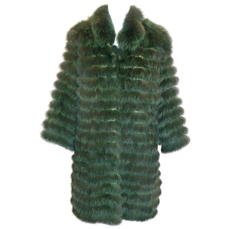 "Olivia Preckel Green ""Carolina"" Long Fox Coat - NWT - M 1"