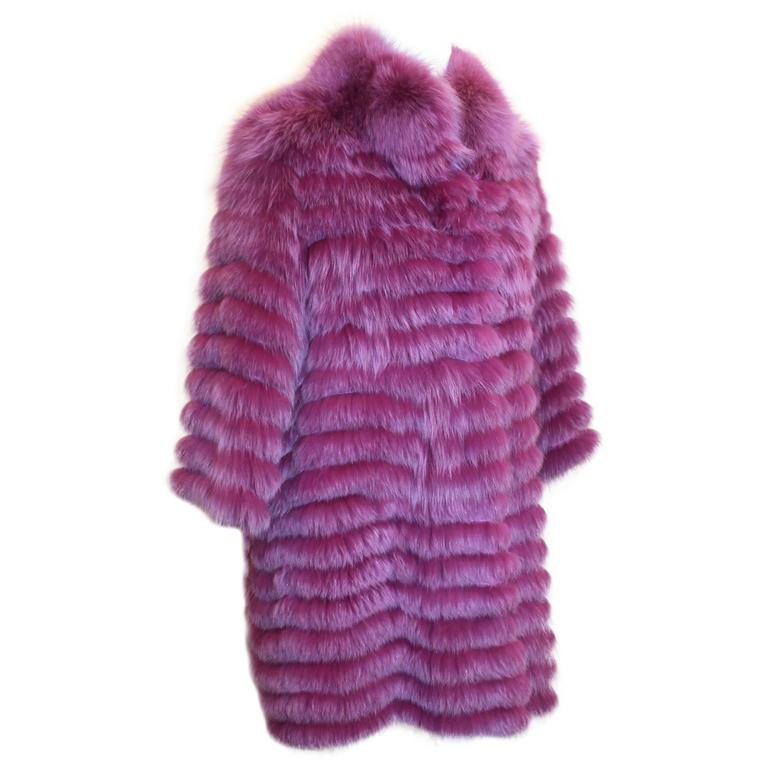 "Olivia Preckel Purple ""Carolina"" Long Fox Coat - NWT - M 1"