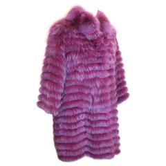 "Olivia Preckel Purple ""Carolina"" Long Fox Coat - NWT - M"
