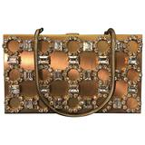 1950s Gold-Tone Rhinestone Encrusted Evening Compact with Chain Handle