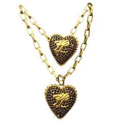 1980s Karl Lagerfeld Garnet-Encrusted Heart Pendant Necklace and Brooch Set