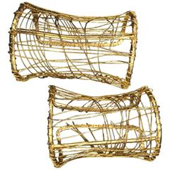 1980s Pair of Gold-Tone Wire-Wrapped Art-To-Wear Cuffs
