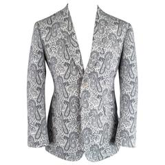 BLACK FLEECE 40 Short Black & White Cotton Paisley Pattern Sport Coat