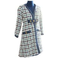 Bonnie Cashin Boucle Wool & Leather Coat, Knit Dress & Leather Belt Suit 3pc M