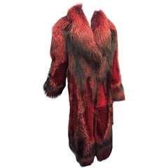 Roberto Cavalli Scarlet Dyed Shadow Fox Full-Length Coat