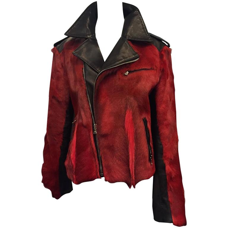 Dolce & Gabbana Red Goat Hide and Black Leather Motorcycle Jacket.  1