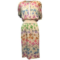 Valentino - Night Silk Jacquard and Knit Dress w/ Rainbow Floral Print