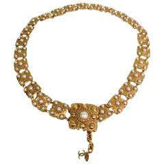 Chanel Rare 1980's Gold and Pearl CC Charm Waist Belt