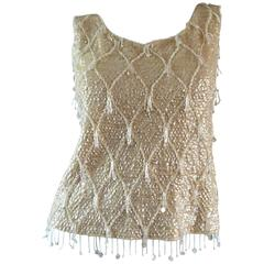 Beautiful 1950s / 1960s Ivory Wool Beaded + Sequins Off - White Sleeveless Top