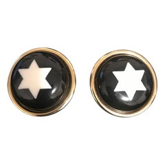 Moschino Black White Star Round Clip-on Earrings
