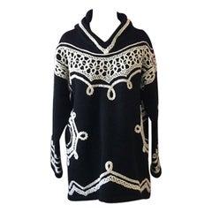 Moschino Cheap Chic Black White Wool Sweater