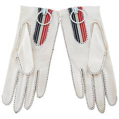 Bonnie Cashin for Crescendoe Mod White Cotton Gloves Dead Stock with Tags 70s