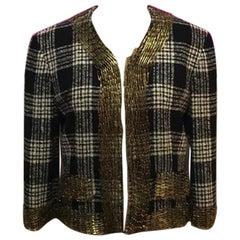Moschino Plaid Wool Jacket Safety Pin Blazer Jacket