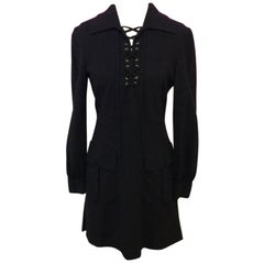 Moschino Couture Black Lace Up Front Dress
