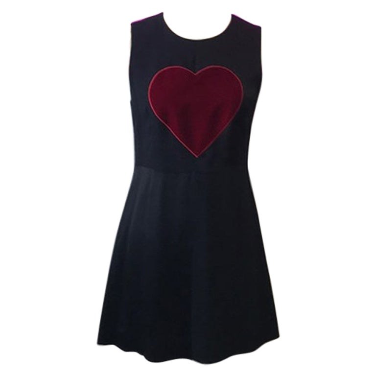 Moschino Cheap Chic Black Satin Red Heart Dress For Sale