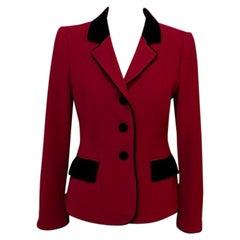 Moschino Red Wool Riding Equestrian Jacket Blazer
