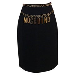 Moschino Couture Black Gold Chain Charm Skirt