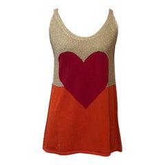 Moschino Cheap Chic Orange Red Gold Heart Sweater