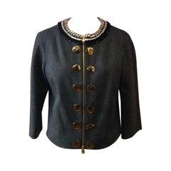 Moschino Gray Wool Status Symbol Jacket
