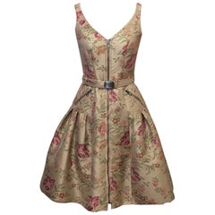 Moschino Couture Tan Brocade Floral Puff Dress