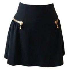 Moschino 30 Years Black Mini Skirt Gold Zipper