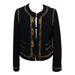Moschino Couture Black Gold Chain Charm Jacket