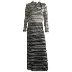 Susan Small 1970s Knit Maxi Long Dress Size 6/8.