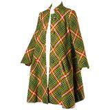 1960s Donald Brooks Vintage Green + Red Wool Plaid Swing Coat