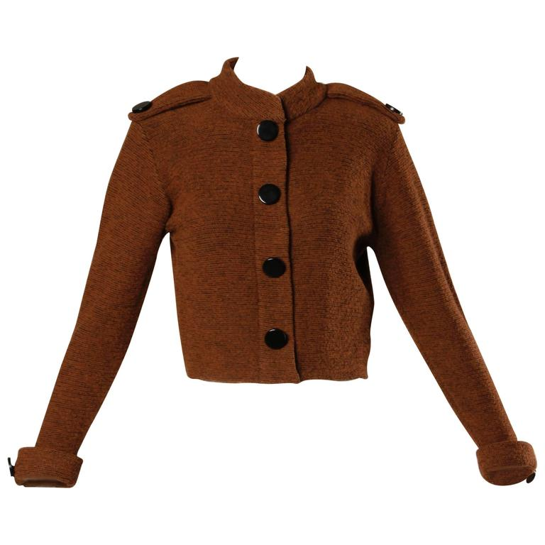 Early St. John by Marie Gray Vintage Brown Knit Sweater Jacket