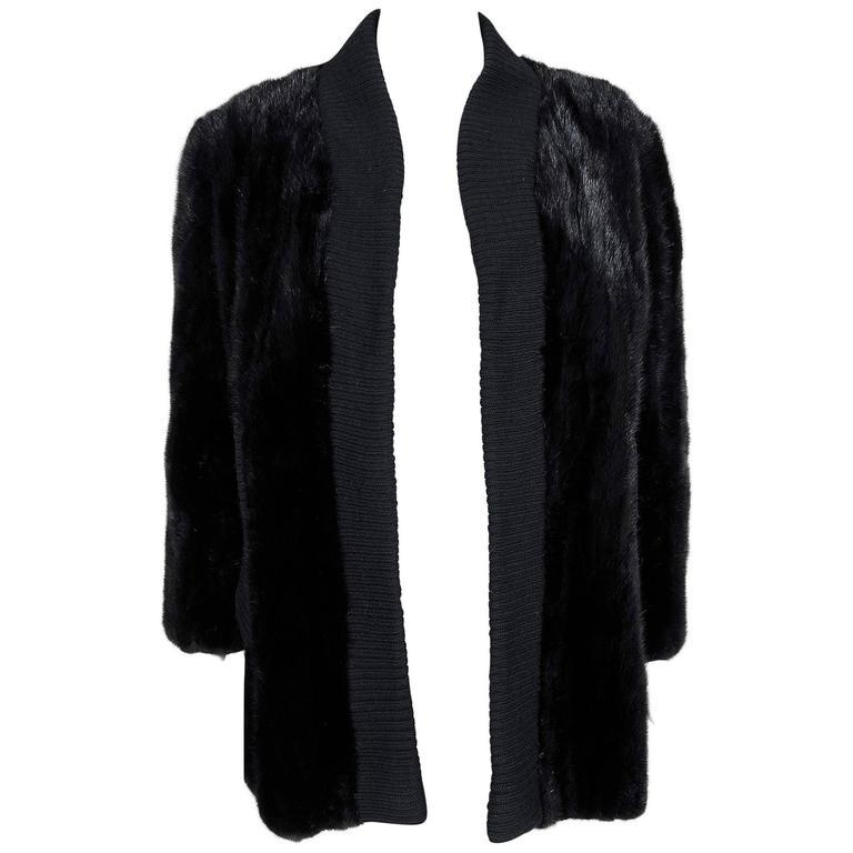 1968 Pierre Cardin Black Mink-Fur & Knit Mod Cardigan Sweater Stroller Jacket For Sale