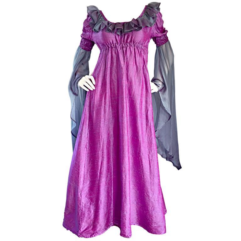 Pretty Vintage Fuchsia + Pink Purple 1970s 70s Raw Silk Dress w/ Angel Sleeves For Sale