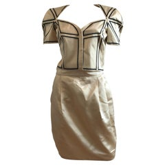 Gianni Versace Couture Origami Silk Cropped Blazer and Skirt Suit Set