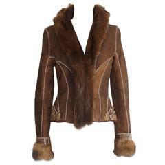 ROBERTO CAVALLI jacket shearling fisher fur snakeskin jewel trim EXQUISITE  44/6