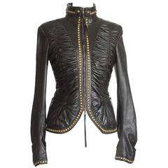 ROBERTO CAVALLI jacket soft rouched leather  antiqued hardware  42 fits 6
