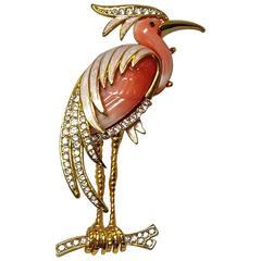 Hattie Carnegie Enamel  Faux Coral Heron Brooch Pin