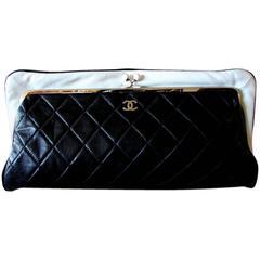 Chanel Black Lambskin Matelassé Clutch White Trim + Chain Coin Purse 2009 + Box