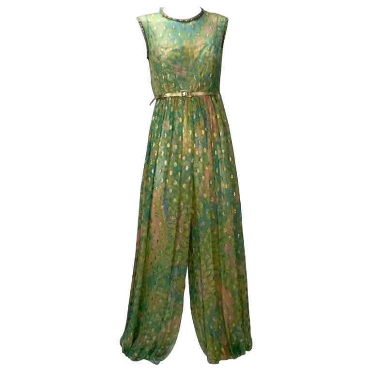 Mollie Parnis Indian Inspired Metallic Green Harem Jumpsuit, 1960s