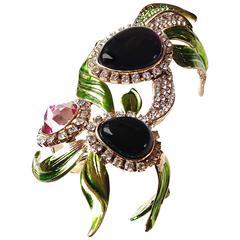 YSL ✿*゚ DIVA PIECE Glass & Rock Crystal Orchid Yves Saint Laurent Cuff Bracelet