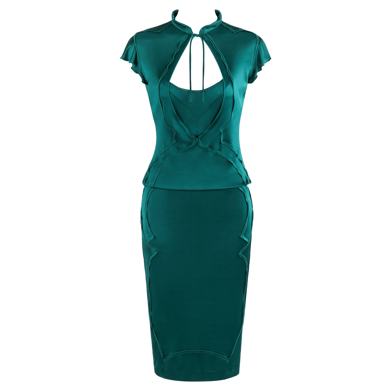 YVES SAINT LAURENT A/W 2003 TOM FORD Teal Satin 2pc Skirt Blouse Dress Set YSL
